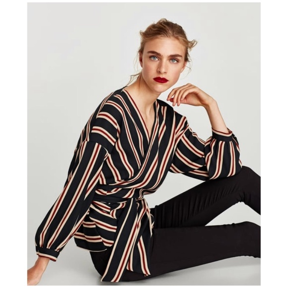 99f016f564 Zara Striped Wrap Blouse with Belt